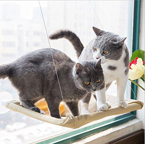 GPR 猫 窓用 ハンモック 吸盤タイプ 取り付け簡単 耐荷重(約15kg程度) 54×32cm 猫用品 (ベージュ)