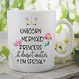 N\A Tazza da caffè Tazza da tè in Ceramica Unicorno Sirene Principessa Migliore Amica Figlia Regalo di Compleanno Compleanno Natale Divertente novità Tazza Tazza da Ufficio
