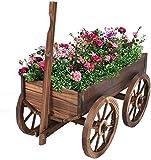 COSTWAY Carro de Flores de Madera Maceta Soporte de Planta Carretilla...