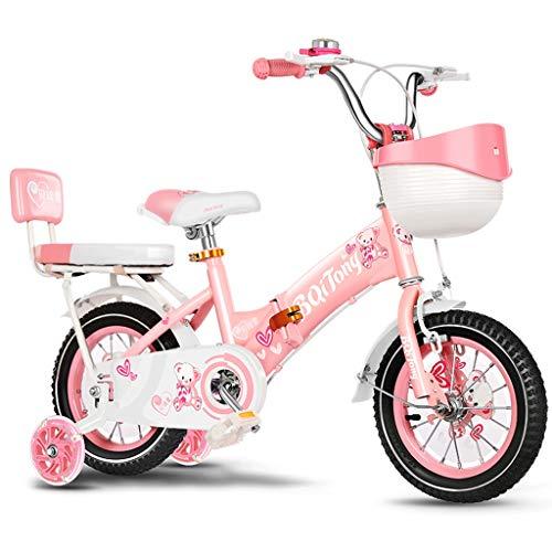 LLF Kinderfahrrad Kinderfahrrad for 2-12 Jahre Jungen Mädchen, 12 Zoll / 14Inch / 16Inch / 18Zoll Kind Fahrrad Mit Stützrädern Und Handbremsen (Color : Pink-b, Size : 12inch)