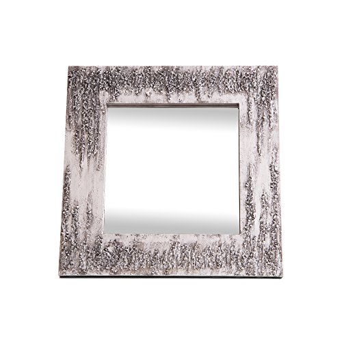 Lohoart L-1261-3 - Espejo sobre Lienzo Pintado Artesanal, Espejo Pared Color Blanco y Plata, Medidas: 80X80X15 cm