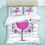 446 HBGDFNBV - Juego de funda de edredón tamaño super king, juego de cama de 3 juegos de cama con diseño de princesa flamenco, juego de ropa de cama para decoración de dormitorio