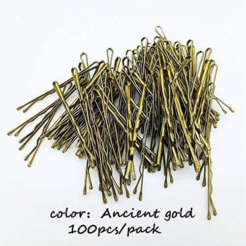 SELLA Épingles à cheveux noir/browm/or pour femmes Lady Épingles à cheveux Invisible Wave Hairgrip Barrette Hairclip Pinces à cheveux Accessoires, ACC103-or 100PCS, 5CM (1,97 pouces)