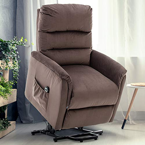 GOOD & GRACIOUS Power Lift Chair Electric Recliner Sofa for Elderly Heavy Duty and Soft Fabric Sleep Lift Chair with Remote Control for Living Room 3 Positions 2 Side Pockets 3 Grid Brown