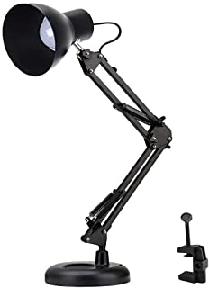 Shellkingdom Architect Task Lamp,Adjustable Swing Arm Desk Lamp with Clamp,Classic Desk Lamp for Home Office Reading (Blac...