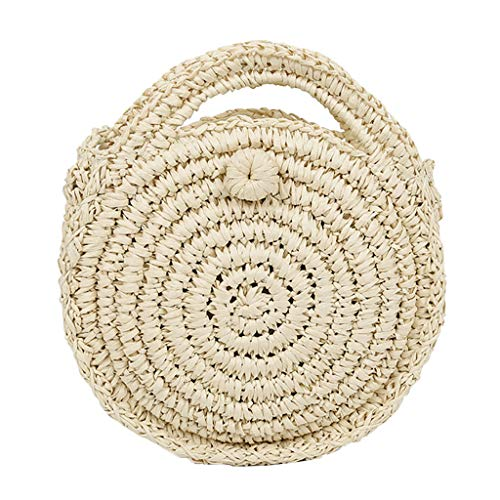 SoonerQuicker Mini tas vrouwen cirkelvormige handgeweven retro rotan stro weven eenvoudige strandtas crossbody tas