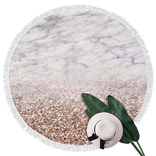 Perfecone Toalla de playa redonda de mármol blanco con purpurina rosa sintética