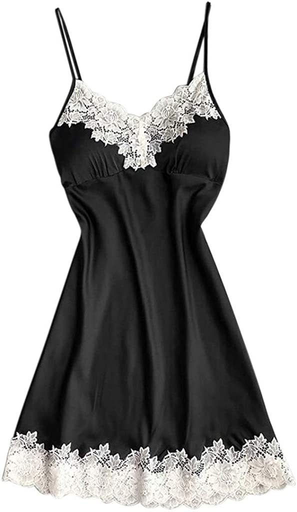 Sexy Lace Women Satin Sleepwear Ladies Nightwear Nightdress Comfort Breathable Lingerie with Chest Pads Night Dress