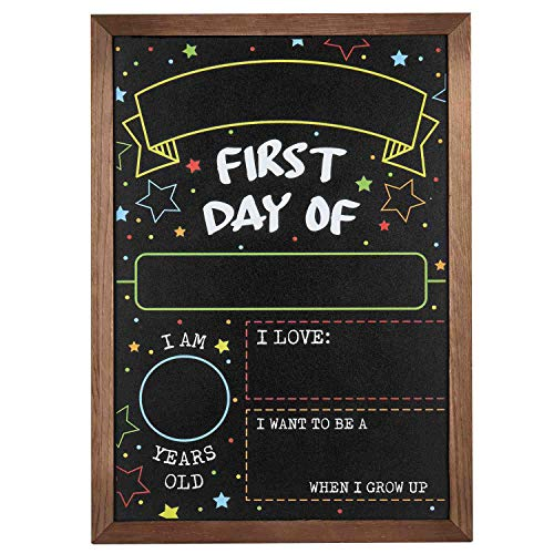 First Day Last Day of School Chalkboard Double Sided Sign with Frame - 14' x 10'