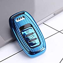 JVCV® Soft TPU Carbon Fiber Style Car Key Cover Compatible with Audi Smart Key (Blue)