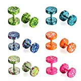 Aroncent 12pcs Colorful 8MM Screw Stud Earrings Mens Stainless Steel Fake Cheater Ear Barbell Plugs Gauges Illusion Look Tunnel