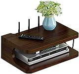Set-top estante de almacenamiento Caja Simple de madera maciza Set Top Box estante de la sala de montaje en pared del router de almacenamiento caja de doble Shel decorativo caja de almacenamiento enru