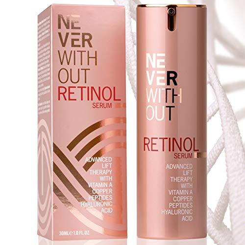 Retinol Serum hochdosiert mit Hyaluronsäure und straffenden Peptiden, Kollagen und Vitamin A, B5 & E für Zellerneuerung. Reduziert Pigmentflecke, Poren. Antifaltencreme Frauen von NeverWithout®