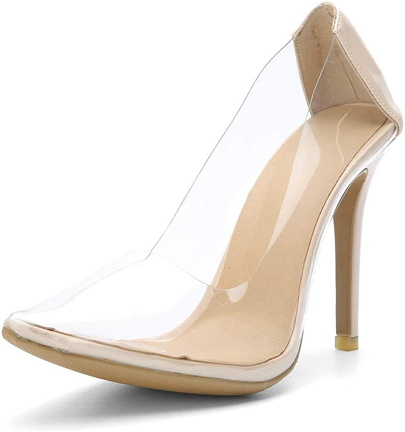 Lady Sandals PVC Clear Transparent shoes Close Pointed Toe Pumps Ultra Women Stiletto Boot