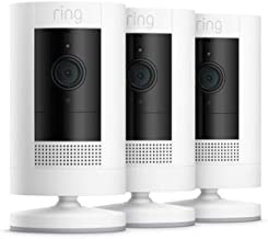 All-new Ring Stick Up Cam Battery | HD security camera with Two-Way Talk, white, Works with Alexa – 3 Pack