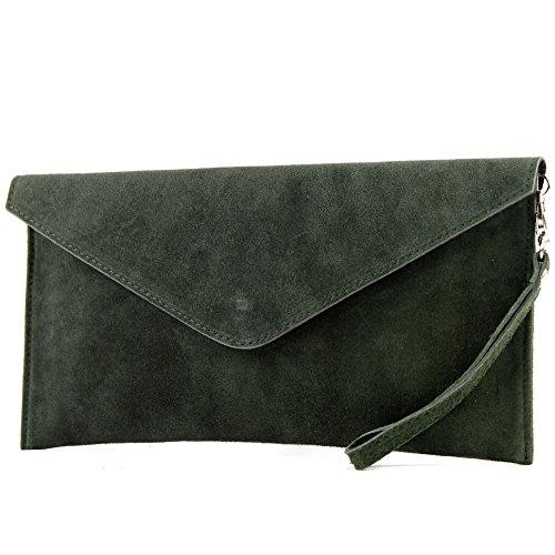 modamoda de - T106 - ital Clutch Abendtasche aus Wildleder, Farbe:Schwarzoliv