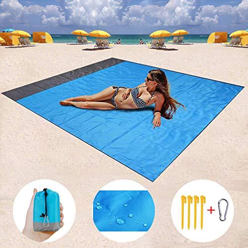 Manta de Picnic de 208 x 200 cm, Manta de Playa, Toalla de Playa Impermeable para la Arena, Secado rápido y Funda de Camping compacta