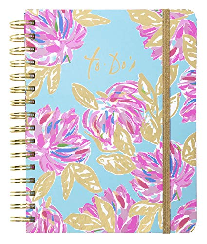 Lilly Pulitzer Undated To Do Planner, Pink/Blue/Gold Hardcover Daily Planner, Personal Organizer with Hourly Schedules and Notes Pages, Totally Blossom