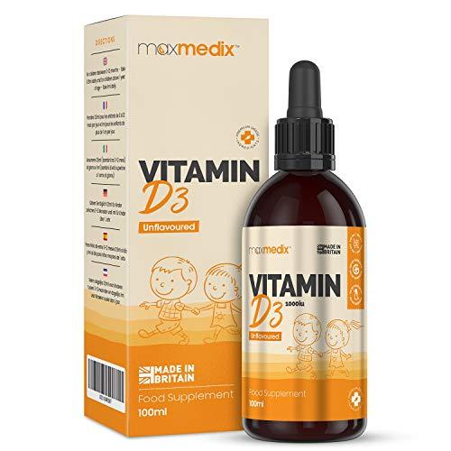 Vitamina D Niños y Adultos Gotas 100ml - Vitamina D3 1000 UI Con Vitamina E, Vitamina d Gotas Sin Azúcar Sin Sabor ni Olor Para mas de 6 meses, Contribuye al Funcionamiento Normal del Sistema Inmune
