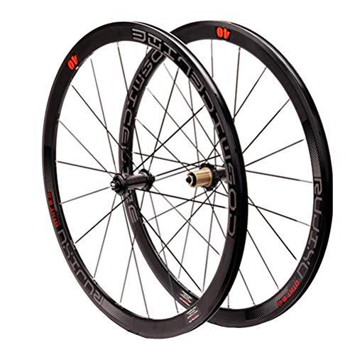 700C Rennrad Radsatz Laufradsatz Kohlefaser-Nabe 40mm Felge Steckachse/Schnellspanner C/V-Bremse 8/9/10/11 Speed (Color : A)
