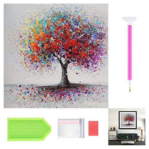 Kits de pintura de diamante 5D para adultos, niños, principiantes, pintura de cristal de taladro completo por kits de números, para regalo de decoración del hogar(árbol de color)