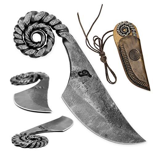 Toferner Originelles Geschenk - Ram - Pocket Handgeschmiedetes Federstahl Messer im keltischen Stil - Scharfe & Spitze Klinge mit Echtledertasche Kunst- & Kulturliebhaber