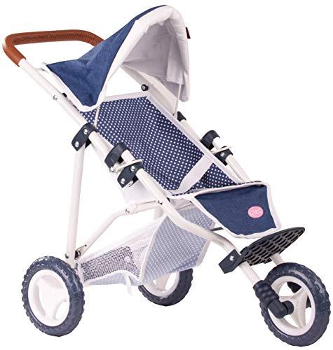 Götz 3403081 3-Rad Puppen-Buggy Denim Dots Puppenwagen - passend für alle Götz Puppen bis 50 cm mit Aufbewahrungskorb und verstellbarem Verdeck