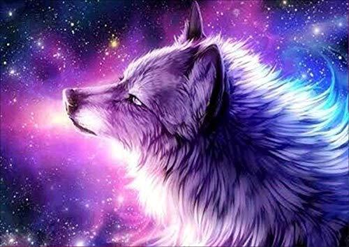 CKVVROOM 50X50 cm, 5D DIY Diamant Malerei Tier Violet Wolf Stickerei Diamant Kreuzstich Voll Kreisrunde Strass Mosaik Dekoration Geschenk