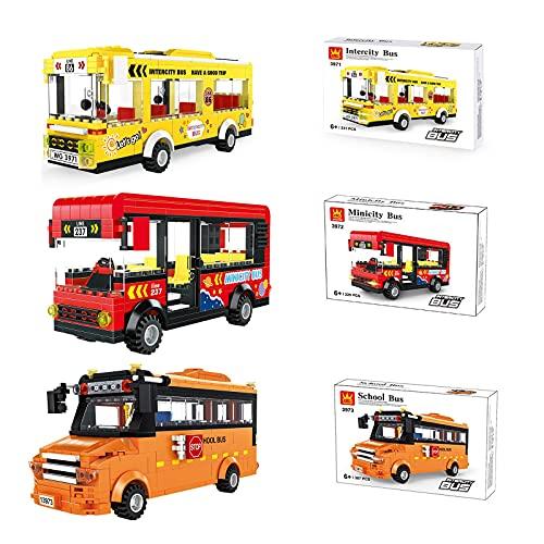 WANZPITS Kit De Construcción De La Serie De Autobuses De La Ciudad; Bloques De Construcción De Juguetes De Autobuses Simulados para 6 Años De Edad, Regalos De Cumpleaños para Niños, Nuevo 2021,3pcs