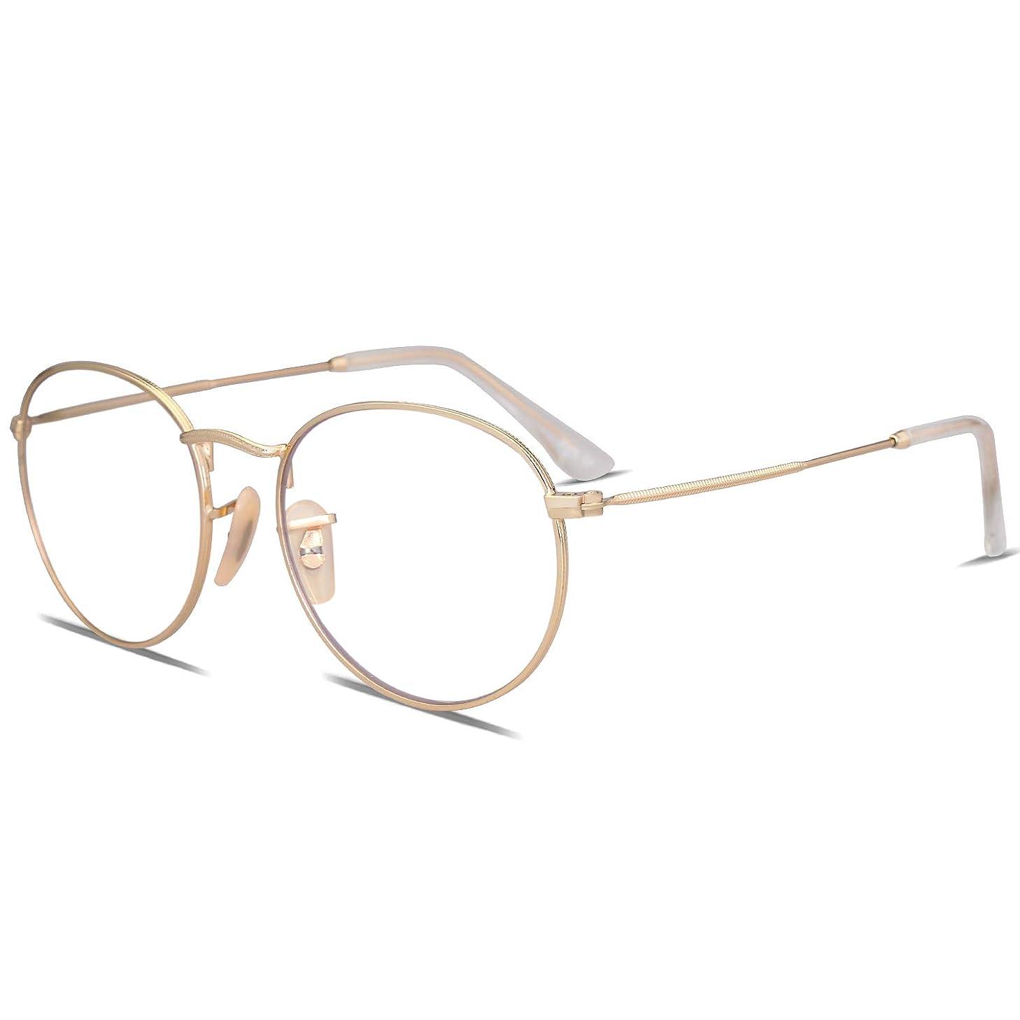 SOJOS Blue Light Blocking Glasses Round Eyeglasses Frame Anti Blue Ray Computer Game Glasses SJ5024
