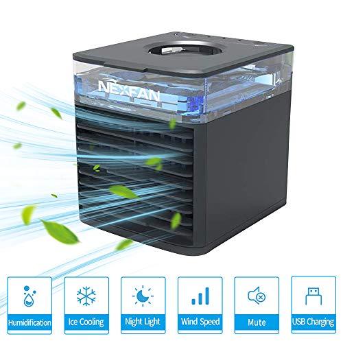 Mini Air Cooler, NEXFAN Mobile Klimageräte Tragbare Luftkühler Klimaanlage Luftkühler, Luftbefeuchter und Luftreiniger Büro Desktop-Luftkühler Mini-Ventilator für Zuhause, im Freien