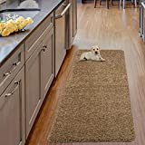 Ottomanson Luxury Collection Solid Runner Rug with Non-Slip/Rubber-Backing Bath Rug, 20' X 59', Beige