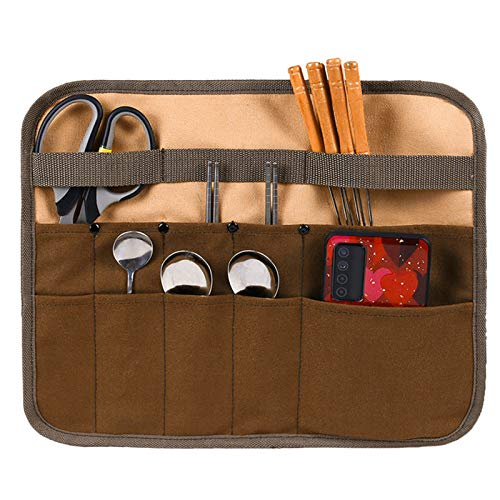 Bolsa de almacenamiento de vajilla, cubiertos de picnic, organizadores de cubiertos en rollo, bolsa de vajilla para acampar, bolsa de almacenamiento multifuncional para barbacoa de picnic