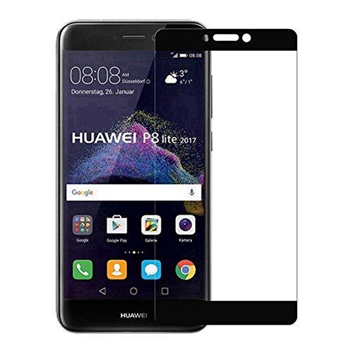NOVAGO Protector de Pantalla Compatible Huawei P8 Lite 2017, P9 Lite 2017 Vidrio Templado Resistente (Negro)