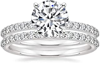 DUGISOWE 10K 14K 18K Gold Bridal Sets Ring for Women 1-1/3 ct. tw. Round-Cut Moissanite Proposal Engagement Wedding Ring J...