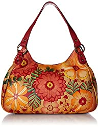 Túi xách nữ Anna by Anuschka Genuine Leather Ruched Hobo Bag | Hand-Painted Original Artwork (Amazon)