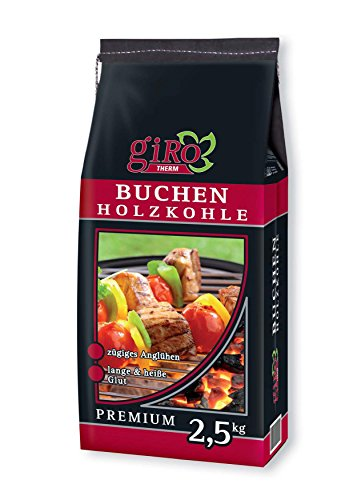 5 kg (2x 2,5kg) giRo Buchengrillkohle Holzkohle Buche Grillkohle Buchengrillholzkohle Premium