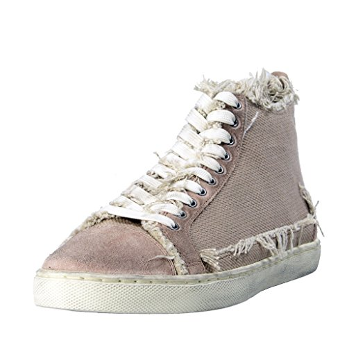 Dolce & Gabbana Women's Canvas Leather Fashion Sneakers Shoes US 8.5 IT 38.5 Dolce Sz 5; Beige
