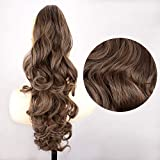 DIGUAN Claw Clip In Wavy Loose curly Synthetic Wrap Around Ponytail Extensions 24 Inches Pony Tail Clip In Extensions...