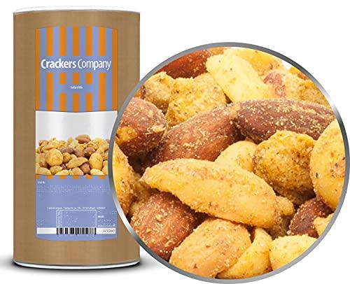 CrackersCompany Safari Mix (2 x 700g in Membrandose groß) Hochwertige Curry Nussmischung - Exquisite Nussmischung aus Erdnüssen, Mandeln, Cashews und Macadamias mit Chili und Curry