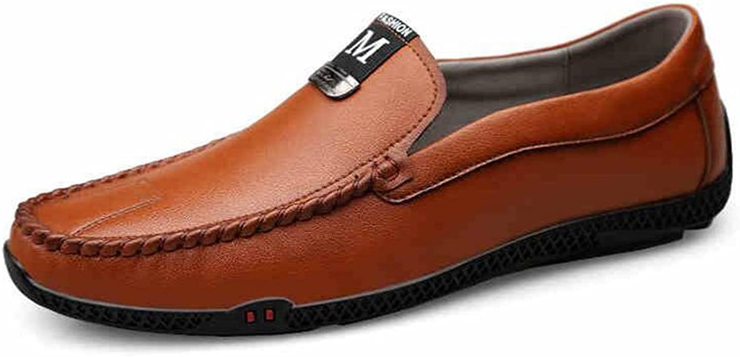 CJC shoes Men's Casual Loafers Flat Formal Business Work Comfy Moccasins Walking Driving shoes Wider Fitting Lightweight (color   T1, Size   EU41 UK7.5-8)