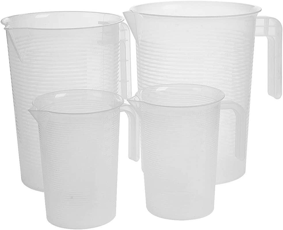 Saim Translucent Plastic Graduated Pitcher Plastic Measuring Cups Set 1000ml 3500ml 5000ml 3 Size Capacity Scale Cups With Handle Grip And Spout 4Pcs