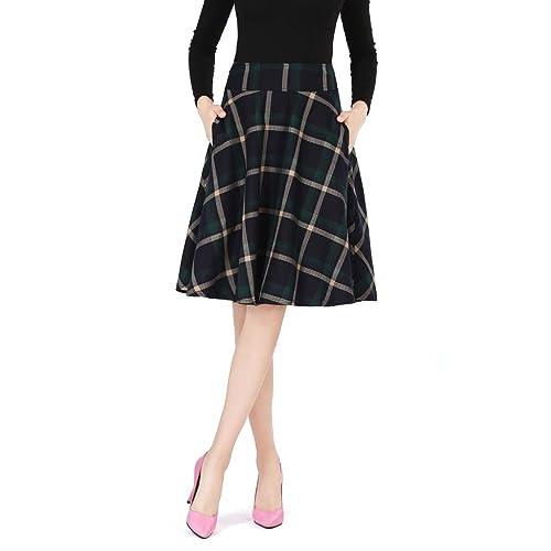 4fce00332 Ashir Aley High Waisted A Line Flared Swing Woman's Green Plaid Midi Skirt