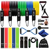 19pcs Resistance Bands Set Workout Bands with 5 Stackable Exercise Bands 5 Resistance Loop Bands, Door Anchor, Ankle Straps,Jump Rope, Carry Bag, Exercise Towel