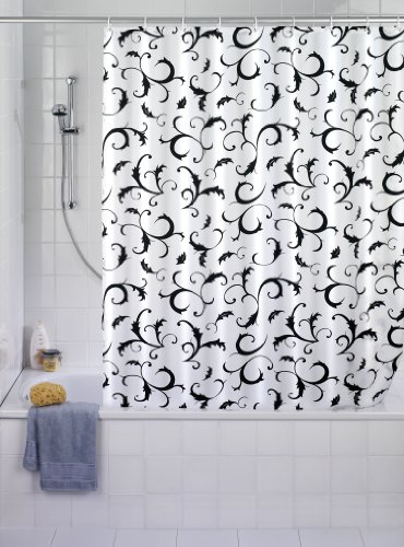 WENKO 19227100 Duschvorhang Bouquet Nero - waschbar, mit 12 Duschvorhangringen, Kunststoff - Polyester, Weiß