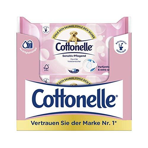 Cottonelle feuchte Toilettentücher Sensitiv Pflegend (ohne Parfüm & Duftstoffe für eine extra sanfte Reinigung) 12 x 44 Tücher