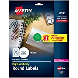 Avery 5293 Round specialty laser printer labels, 1-2/3 diameter, white, 600/pack, (Model: AVE5293)