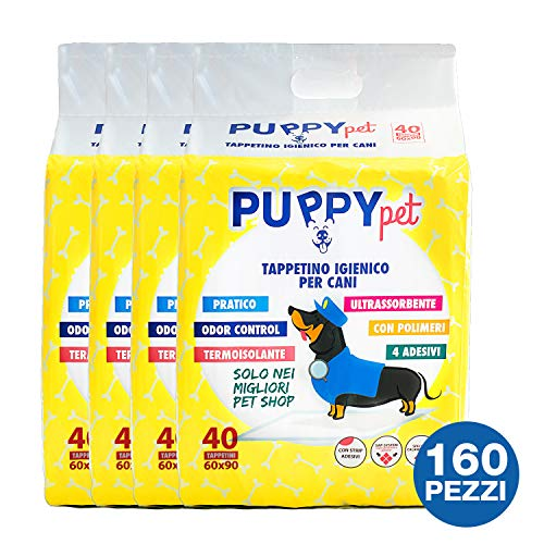 BIRBAPET Puppy Pet 160 TAPPETINI IGIENICI per Animali ASSORBENTI 60x90CM Cane Traverse