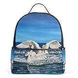 Eslifey Swan Pintura al óleo, mochila escolar para estudiantes