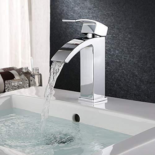HOMFA Wasserhahn Bad Mischbatterie Waschbecke Waschtischarmatur aus Messing Badarmatur mit Wassersparfunktion Waschtisch-Einhebelmischer für Badezimmer und Küche Chromoberfläche 3/8 Zoll-Standard-Port